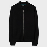 Paul Smith Men's Black Merino Wool Zip-Front Cardigan