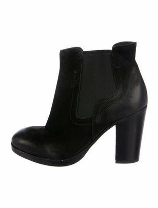 Barneys New York Suede Distressed Accents Chelsea Boots Black