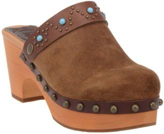 Dingo Womens Slip-On Suede Platform Clogs - Woodstock