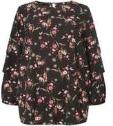 Dorothy Perkins Wodp Curve Plus Size Black Ditsy Floral Print Tuck Sleeve Top- Black