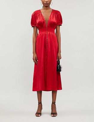 Reformation Alexea puffed-sleeve silk-satin maxi dress