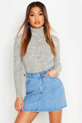 boohoo Rib Knit Roll Neck Sweater