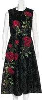 Dolce & Gabbana 2015 Broadtail Rose Appliqué Dress w/ Tags