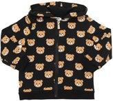 Moschino Bear Print Zip Up Cotton Sweatshirt