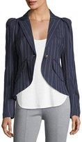 Smythe Pouf-Sleeve One-Button Pinstriped Blazer
