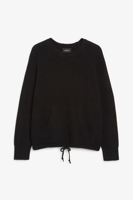 Monki Knitted drawstring sweater