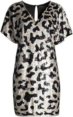 Aidan Mattox Sequined Leopard V-Neck Dress
