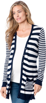 A Pea in the Pod Long Sleeve Striped Patch Pocket Maternity Cardigan
