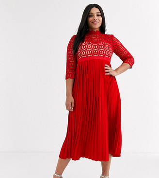 Little Mistress Plus midi length 3/4 sleeve lace dress in pillar box red