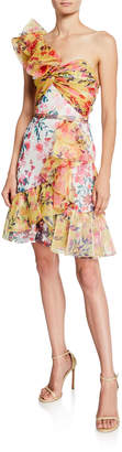 Marchesa Colorblock Floral-Print One-Shoulder Twisted Ruffle Dress