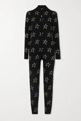 Perfect Moment Floro Metallic Intarsia Merino Wool-blend Bodysuit - Black