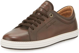 Salvatore Ferragamo Men's Leather Lace-Up Sneakers, Brown