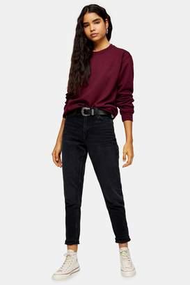Topshop Womens Blue Black Mom Jeans - Blue Black