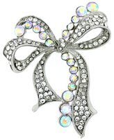 PYNK JEWELLERY Silver and AB Crystal Bow Corsage Brooch