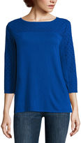 Liz Claiborne Tunic Eyelet Knit Top