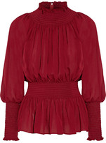 Elie Saab Ruched Silk-georgette Blouse - Burgundy