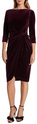 Tahari ASL Velvet Mock Neck Wrap Dress (Plum) Women's Dress