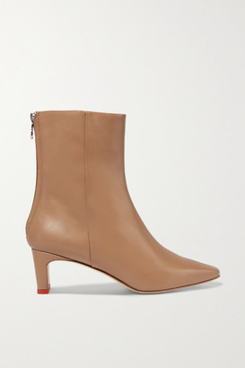 AEYDĒ Ivy Leather Ankle Boots - Sand