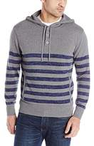 Alex Stevens Men's Striped Button Henley Hoodie