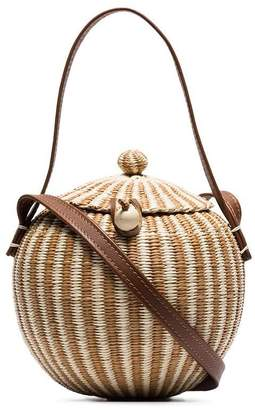 Sensi Studio brown coco straw and leather bag