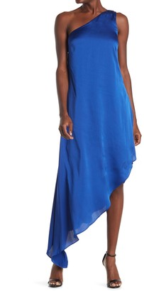 Laundry by Shelli Segal Satin One Shoulder High/Low Dress