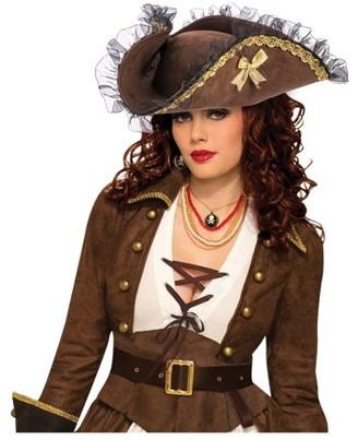 Pirates Adult Tricorn Pirate Brown Hat
