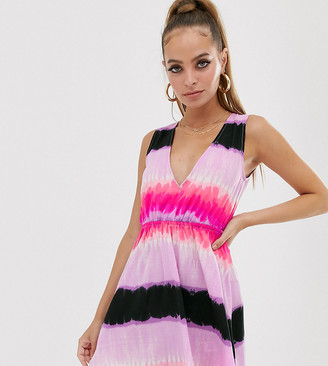 Asos DESIGN Petite twist back sundress in pink tie dye print