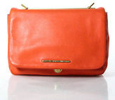 Marc by Marc Jacobs Orange Leather Gold Tone Hardware Logo Front Clutch NEW