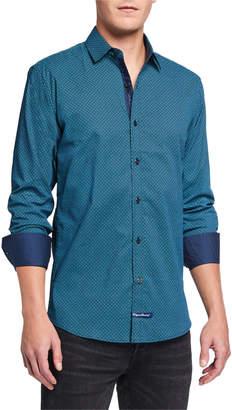 English Laundry Men's Diamond-Print Sport Shirt