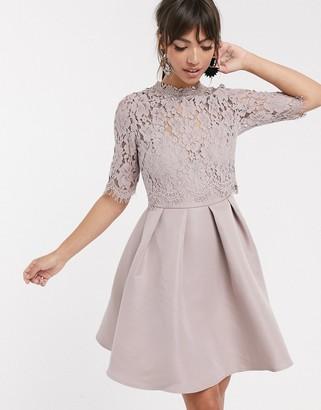 Little Mistress lace upper skater dress-Pink