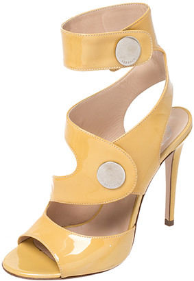Versace Mustard Patent Leather Cutout Open Toe Ankle Cuff Sandals Size 37.5
