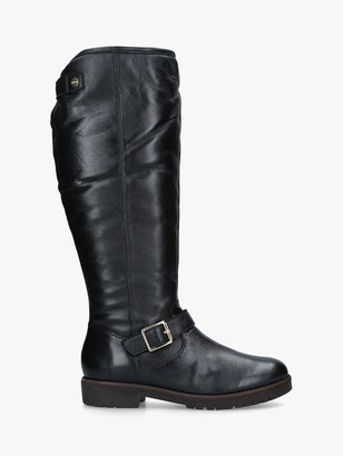 Carvela Samba Buckle Detail Knee High Boots, Black Leather