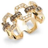 Effy White and Brown Diamonds in 14KT Gold Hexagonal Ring