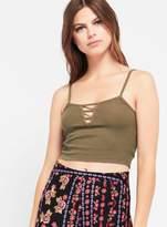 Miss Selfridge Khaki bar crop camisole top