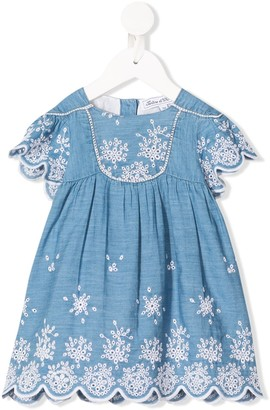 Tartine et Chocolat Embroidered Chambray Dress