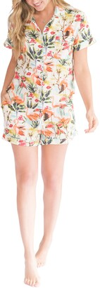 The Lazy Poet Nina Caribbean Flamingos Linen Short Pajamas