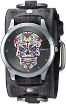 Nemesis Watch Nemesis Women's FRB925K Punk Rock Collection Sugar Skull Leather Cuff Band Watch