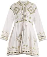 Juliet Dunn Sequin-embellished embroidered cotton dress
