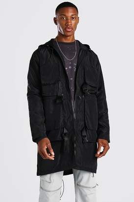 boohoo Mens Black Techy Buckle Lightweight Parka, Black