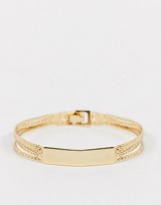 NY:LON chain bracelet with cuff in gold