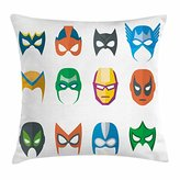 Superhero Throw Pillow Cushion Cover by Ambesonne, Hero Mask Female Male Costume Power Justice People Fashion Icons Kids Display, Decorative Square Accent Pillow Case, 18 X 18 Inches, Multicolor