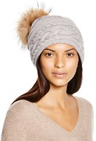 Inverni Braid Knit Beanie with Asiatic Racoon Fur Pom-Pom