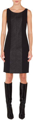 Akris Scoop-Neck Sleeveless Herringbone Leather-Stripe Sheath Dress