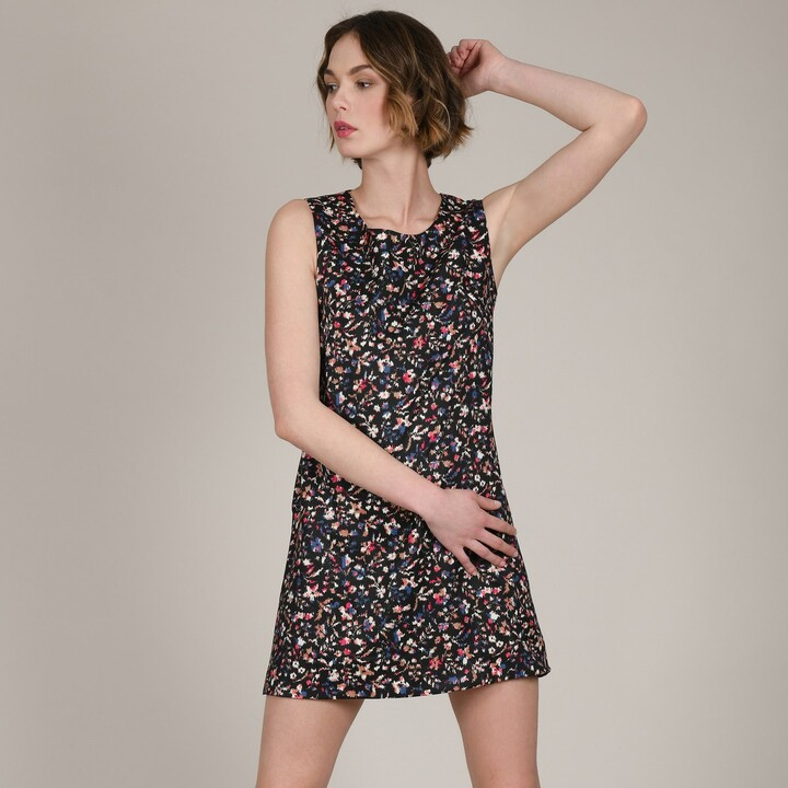 Molly Bracken Short Sleeveless Shift Dress in Floral Print