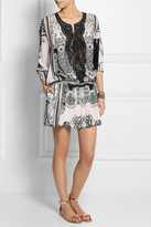 Roberto Cavalli Leather-trimmed crepe de chine mini dress