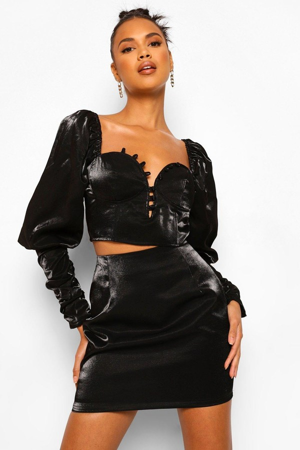 boohoo Volume Sleeve Corset Top And Mini Skirt Co-ord Set