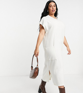 ASOS DESIGN Curve super soft midi dress with pocket detail in winter white
