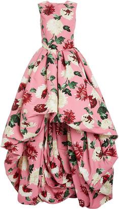 Oscar de la Renta Floral-Print Asymmetric-Hem Crepe Gown