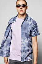 boohoo Navy Tie Dye Short Sleeve Shirt