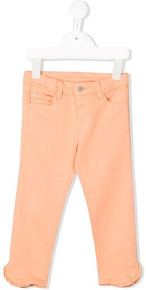 Knot Ruffled Slim-Fit Trousers